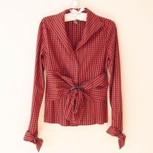 Kenar Tops - Kenar Red and Black Plaid Dressy Top Size 4